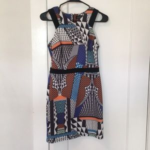 Crazy colorful, wild patterned cocktail dress